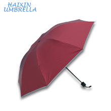 Red Color Personaized Logo Printed Cheap Reflect Light Edge 3 Fold Umbrella Wholesale Promotional Gift Safty Umbrellas
