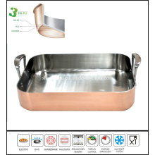 Tri Ply Copper Rectangle Pan Roast Pan