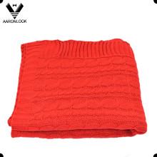 100% acrílico manta de malha de cabo de cor sólida