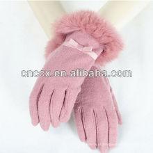 13ST1050 últimas luvas de tela de toque de lã de senhoras de moda de design