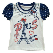 Fashion Girl Kids Clothes T-shirt de Paris com impressão Sgt-037