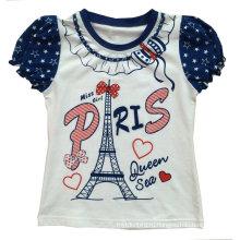 Мода девушка детская одежда Париж футболки с печатью Сгт-037