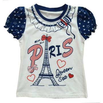 Fashion Girl Kids Clothes Paris T-Shirt with Printing Sgt-037