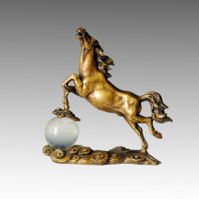 Animal Bronze Sculpture Horse Crystal Ball Statue en laiton Tpal-025