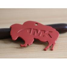 Tecnología de fundición de elefantes rojos etiquetas de metal para la ropa