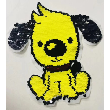 sew on back and yellow puppy sequin patch