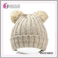 Sombreros hechos punto de lana calientes gruesos calientes de los oídos del oso del invierno 2015 (SNZZM025)