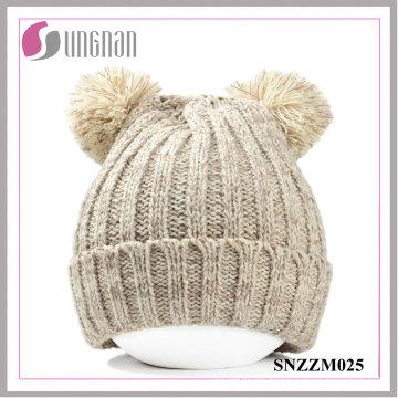 2015 Winter Warm Cute Bear Ohren dicke warme Wolle Strickmützen (SNZZM025)