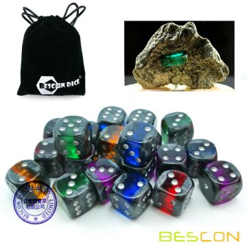 "Bescon Mineral Rocks GEM VINES Ensemble de dés de 6 côtés, 16MM, Paquet de 20, Ensemble de dés de 6/8 ""D6 Rock D6 en couleurs assorties"