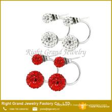 Blanc rouge noir hématite rose Crystal argile pavée boucles d'oreilles