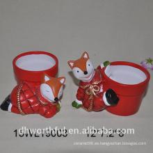 2016 nuevo diseño florero de cerámica en forma de zorro