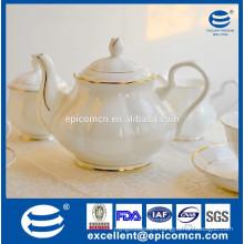 fine porcelain tea pot, tea pot with luxury gold border