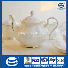 Pote de chá de porcelana fina, pote de chá com borda de ouro de luxo