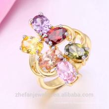 Последние Золотые кольцо конструкции Плакировкой золота 18k одного камня CZ кольцо Родием ювелирные изделия-это ваш хороший выбор