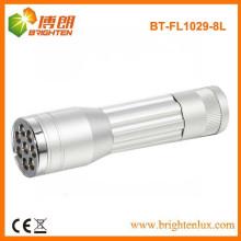 Factory Bulk Verkauf Aluminium billig 8 LED Mini-Taschenlampe, Pocket Mini 8 LED-Taschenlampe