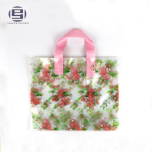 Transparent printing beautiful flower loop handle bag for shopping