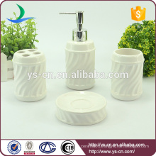 corrugated white ceramic Chinese bathroom accessories set