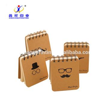 Custom design spiral notebook kraft notebook pocket memo 70 gsm
