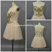 Filles Sweetheart Necklline Beading Custom Mini Short Designs Vêtements de soirée ED085 Robe courte sexy
