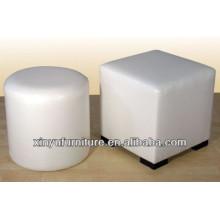 Цилиндр круглый пуфик с белой обивкой из полиуретана PU XY0304