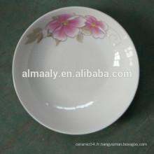 Plaques en céramique blanches de mode pour la nourriture de casse-croûte de fruit de gâteau