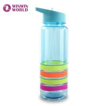 Garrafas plásticas livres de alta qualidade de BPA com silicone do produto comestível da palha