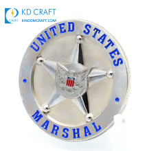 Made in China Bulk Cheap Custom Metal Iron Stamping Embossed 3D Army Souvenir Silver Plated Us United States Military Navy Marshals Challenge Coin
