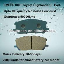 Coussin semi-métallique haute performance D1005 pour Toyota Highlander
