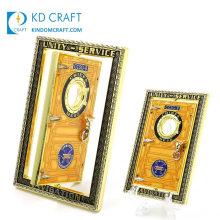 Unique Design Bulk Cheap Custom Logo Metal Door Shaped Gold Plating Enamel Epoxy Souvenir Navy Spin Spinner Spinning Challenge Coin