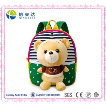 3D Cartoon pouco saco de pelúcia Teddybear Backpack para crianças Crianças