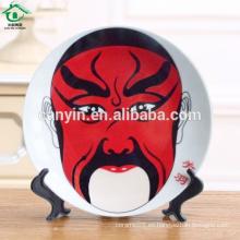 Plato de cerámica de color rojo decorativo ronda de maquillaje facial de estilo chino