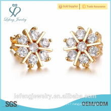 2016 christmas gift new design snow gold crystal earrings stud