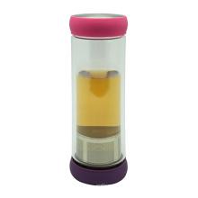 Doppelwand-Glas-Tee-Flasche 400ml mit Sieb