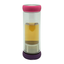 Botella de té de cristal doble pared 400ml con filtro