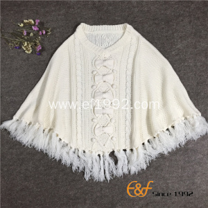 Ladies Crew Neck Tassels White Sweater Cape with Bowknot
