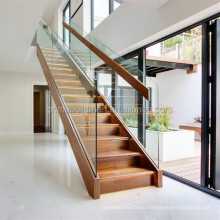 Fancy glass railing stair with U channel beam solid wood stiarcase