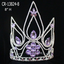 Venta al por mayor Big Violet Rhinestone Crown For Sale