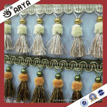 golden beaded fringe for windows sequin fringe trimmings