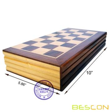 Bescon High Quality 10-Inch Classic Folding Wooden Chess Set for Kids and Adults, Folding Chess Board - Storage for Chess Pieces