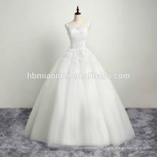 Vestido de boda blanco de las mujeres florales de la tela del nuevo cordón de la llegada