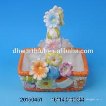 Cestas de titular de huevo de cerámica de diseño de flores para el día de Pascua