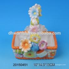 Flower design cerâmica ovo titular cestas para o Dia da Páscoa