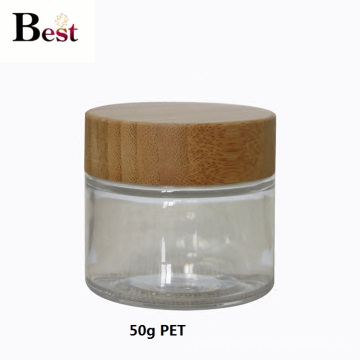 cosmetic packaging 50g clear pet jar with bamboo lid for cream