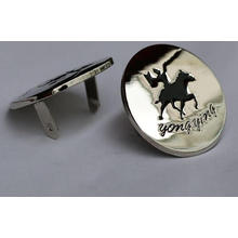 custom round silver color jeans metal label with black logo