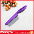 purple handle stainless steel pet comb