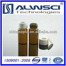 20ML frasco de almacenamiento de vidrio de color ámbar con 24-400 blanco abierto PP tapa cromatografía frasco 27.5x57mm