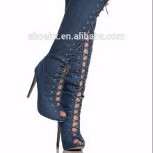 Thigh High Open Toe Lace Up Full Back Zipper Stiletto High Heel Denim Boot, Dark Blue boot