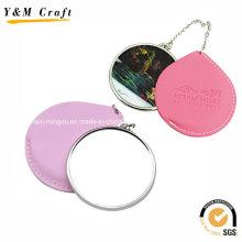 Espelhos pequenos de couro personalizados baratos da cópia para o turismo Ym1152