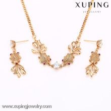 62324-Xuping Fashion Woman deux pièces ensemble de bijoux avec plaqué or 18 carats