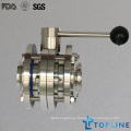 Sanitary Stainless Steel Three Way Butterfly Valve with Tri-Clamp Ends